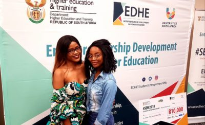 Lihle Nkosi and an entrepreneur from the North-West University Mafikeng Campus sharing a kodak moment.