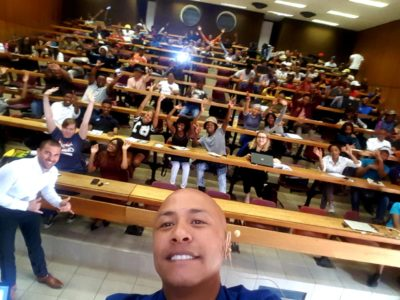 Hezron Louw had the audience on their feet with his inspirational talk at the North-West University Mafikeng Campus. #SumtingFresh #FallingForward #SEW2018