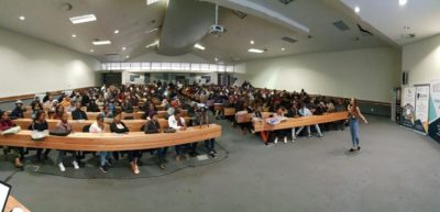 Candice Modiselle inspiring students from Walter Sisulu University in Butterworth Campus. #Sew2018
