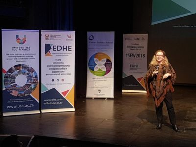 Dr Norah Clarke (Director of the Entrepreneurship Development in Higher Education) doing the welcoming remark at Rhodes University.