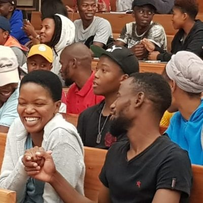 Students from the NWU Mafikeng campus sharing a light hearted moment as part of a networking initiative by our celebrity speaker, Hezron Louw (Sumting Fresh)