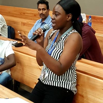 A student entrepreneur from the NWU Mafikeng campus amplifying her voice in support of entrepreneurship as a career.