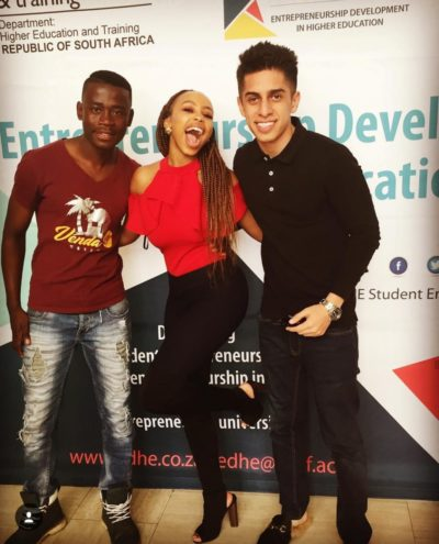 A light hearted moment captured with an entrepreneur and our celebrity speakers, Candice Modiselle and Zareef Minty.