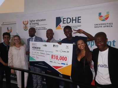 The R10 000 prize winner at University of Fort Hare East London campus- Athenkosi Jokana with his business idea called Law Link. #SEW2018