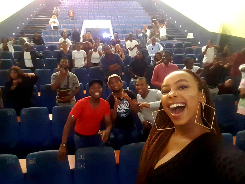 Candice Modiselle strutting her stuff engaging with entrepreneurs from Fort Hare University