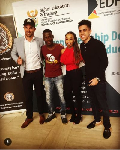 A entrepreneur with our celebrity speakers, Dene Botha, Zareef Minty & Candice Modiselle (University of Free state)