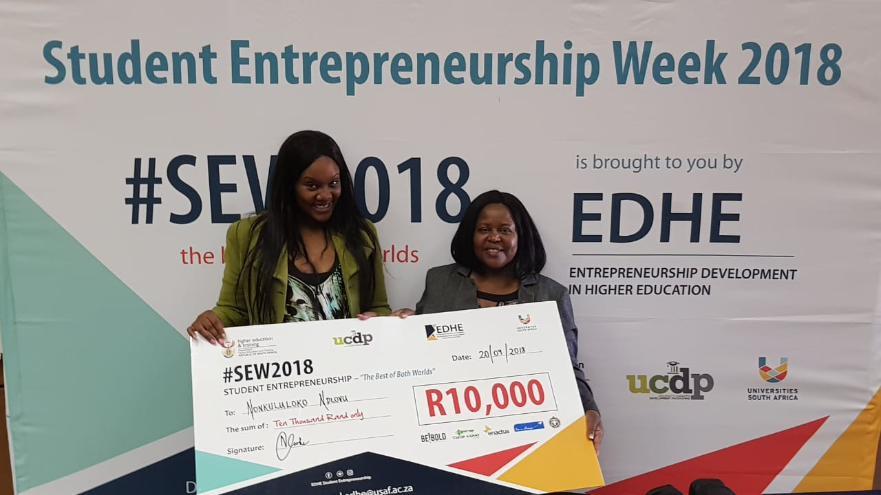 Winner of R10 000 at Vaal University of Technology