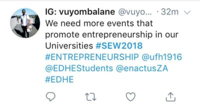 An entrepreneur from University of Fort Hare in support of Entrepreneurship Development in Higher Education on Twitter.