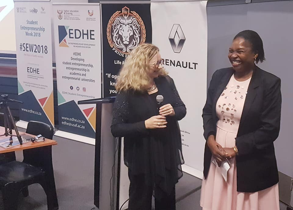 Prof. Bulelwa Nguza-Nduba (Dean of Management Sciences) being acknowledged and thanked for her entrepreneurial drive and spirit to host the#SEW2018 Roadshow at Walter Sisulu Campus. #WomenInLeadership — at Walter Sisulu University