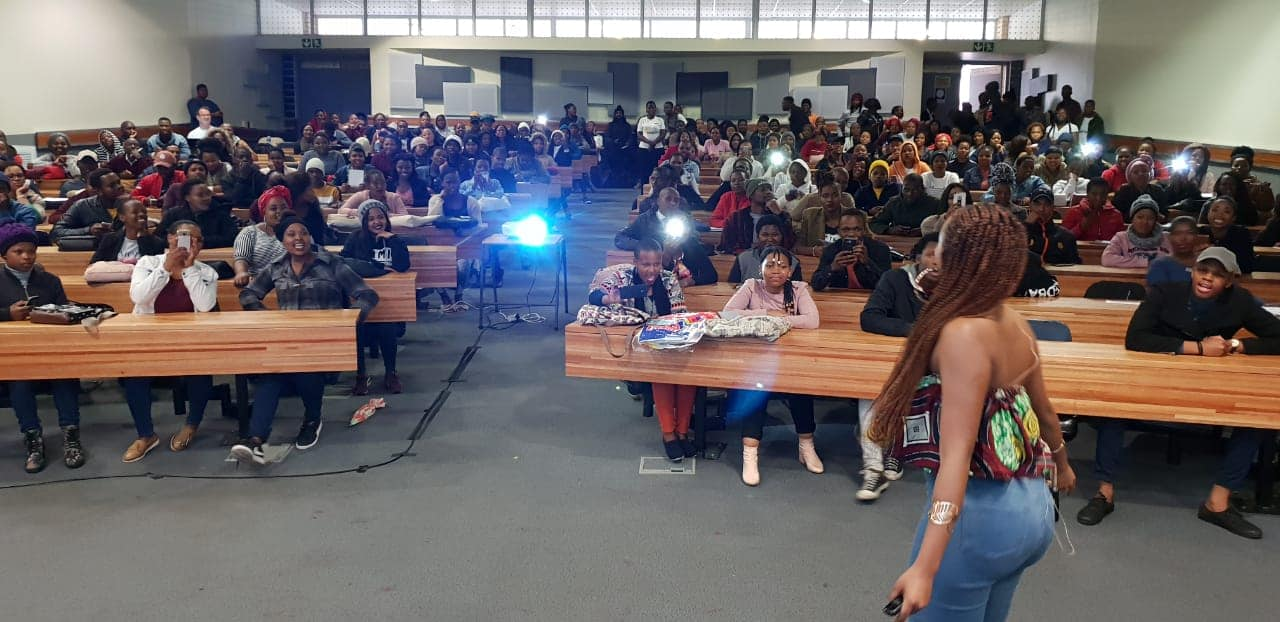 """Candice Modiselle sharing her journey inspiring entrepreneurs at Walter Sisulu University Butterworth Campus. #SEW2018 """"Redirect your focus away from the lifestyle and perception of success. Your lifestyle is a derivative of success, and success a by product of consistent hard work."""" - Candice Modiselle"""