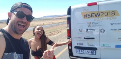 Candice Modiselle and Dene Botha on their way to Mthata with the sponsored Renault Trafic van