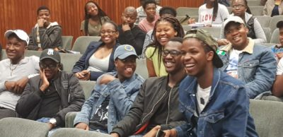 Student entrepreneurs from the University of Freestate in good spirit during the Question & Answer session.