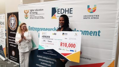 Karabo from North West University- Mafikeng campus with his R10 000 checque for his business called Dare.