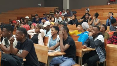 Student entrepreneurs from North-West University Mafikeng campus in good spirits after an entertaining session by Lihle Nkosi.