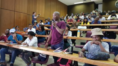 An entrepreneur from the Vaal University of Technology asking a question to the panelists.