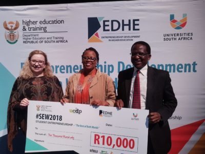 From left to right: Dr Norah Clarke (Director: Entrepreneurship, Universities South Africa), Dr Tshidi Mohapeloa (Senior Lecturer: Rhodes Business School) and Dr Sizwe Mabizela (Vice-Chancellor: Rhodes University) #SEW2018 @EDHE Student Entrepreneurship — at Rhodes University.