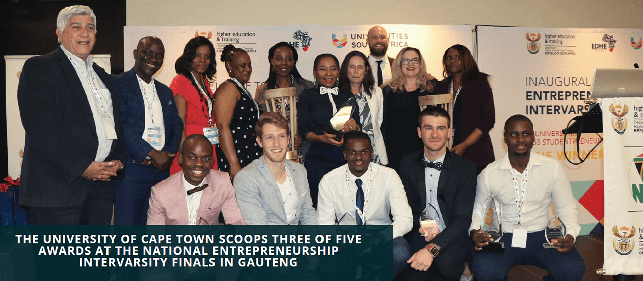The University of Cape Town scoops three of five awards at the national Entrepreneurship Intervarsity finals in Gauteng